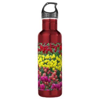 Jardin de tulipe floral bouteille d'eau en acier inoxydable