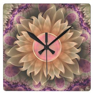Jardin en pastel de Lotus de perle de fractale Horloge Carrée