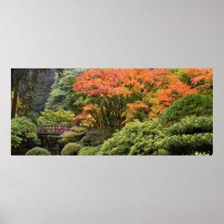 Jardin japonais en affiche d'automne