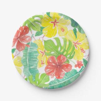 Jardin tropical, plumeria de ketmie et palmettes assiettes en papier
