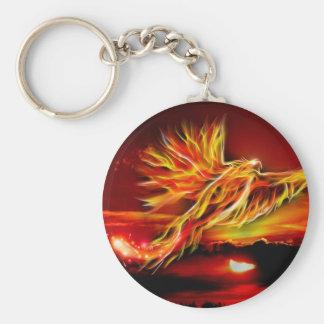 Jardin volant rouge brûlant de Phoenix de tarot Porte-clé Rond