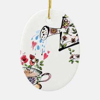 Jardinage de fleur de arrosage de jardin ornement ovale en céramique
