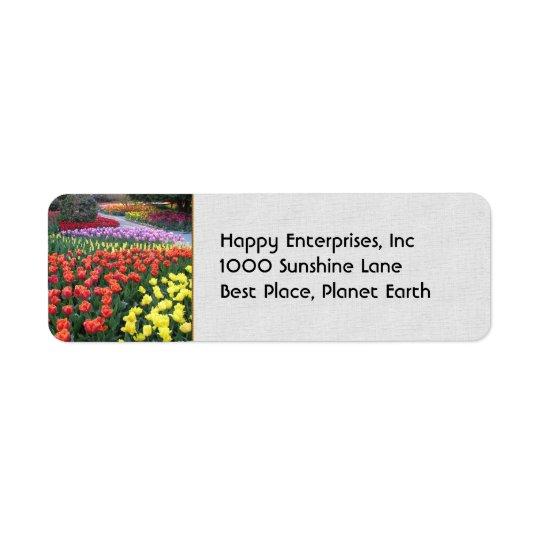 Jardins de tulipe étiquettes d'adresse retour