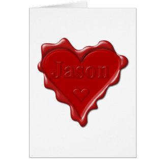 Jason. Joint rouge de cire de coeur avec Jason Carte De Vœux