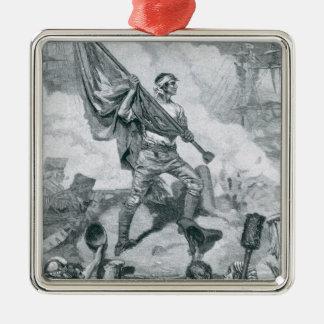 Jaspe de sergent à la bataille du fort Moultrie Ornement Carré Argenté