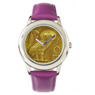 Jaune ANTIQUE d'or de HIBOU Montres Bracelet