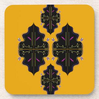 Jaune arabe de luxe de noir d'ornements dessous-de-verre
