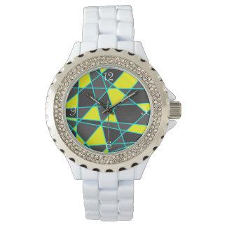 jaune au néon lumineux géométrique et en bon état montres bracelet