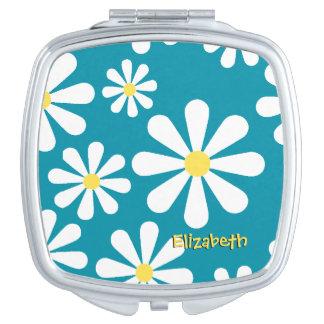Jaune blanc bleu de rétro marguerite d'amusement miroirs compacts