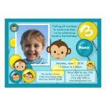 Jaune bleu d'invitation d'anniversaire de singe (p