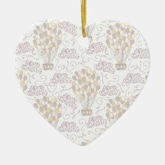 Jaune chaud vintage et gris de ballon à air ornement cœur en céramique
