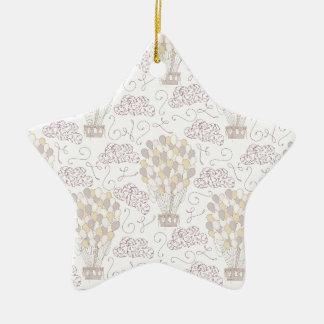 Jaune chaud vintage et gris de ballon à air ornement étoile en céramique