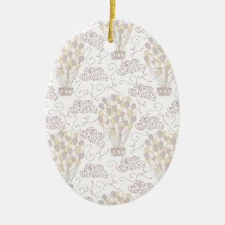 Jaune chaud vintage et gris de ballon à air ornement ovale en céramique