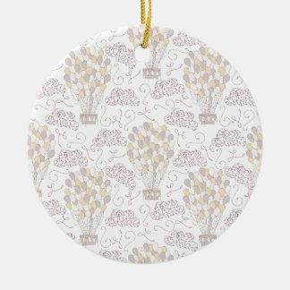 Jaune chaud vintage et gris de ballon à air ornement rond en céramique