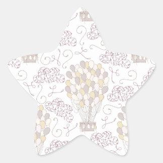 Jaune chaud vintage et gris de ballon à air sticker étoile