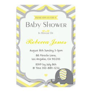 Jaune Chevron d'invitation de baby shower Carton D'invitation 12,7 Cm X 17,78 Cm