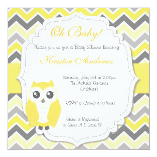 Jaune Chevron d'invitation de baby shower de hibou Carton D'invitation 13,33 Cm