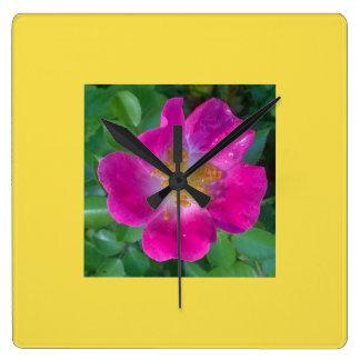 Jaune crémeux sur l'horloge de carré de rose horloge carrée