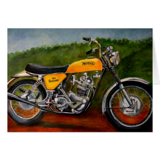 jaune de motocyclette de commando de norton cartes de vœux