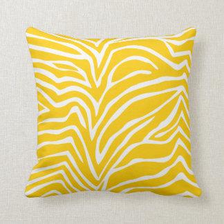 Jaune de moutarde outre du zèbre blanc ou de tout coussin décoratif