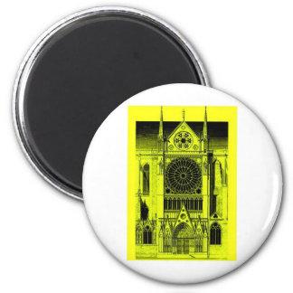 jaune de Notre Dame Magnet Rond 8 Cm