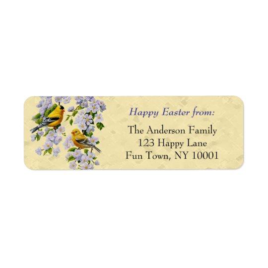 Jaune de pinsons d'or et de fleurs d'Apple Étiquettes D'adresse Retour