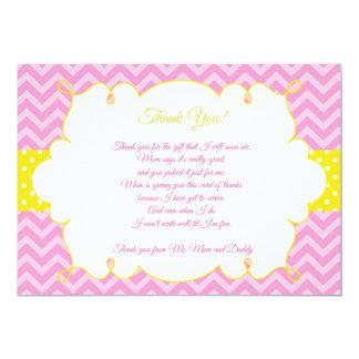 Jaune de rose de carte de remerciements de baby