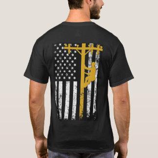 Jaune de T-shirt de monteur de lignes
