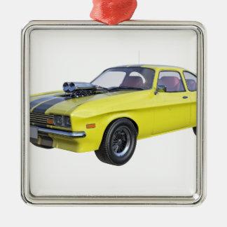 Jaune de voiture de 1970 muscles avec la rayure ornement carré argenté