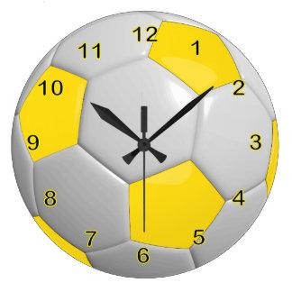 Jaune du ballon de football   grande horloge ronde