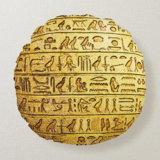Jaune égyptien antique d'hiéroglyphes coussins ronds