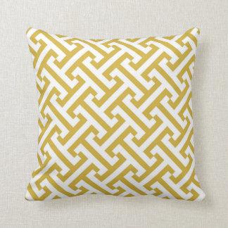 Jaune et blanc géométriques grecs de moutarde de coussin décoratif