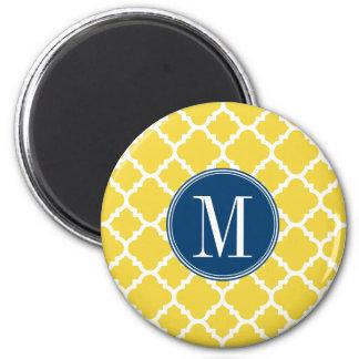 Jaune et monogramme de coutume de motif de Quatref Magnet Rond 8 Cm