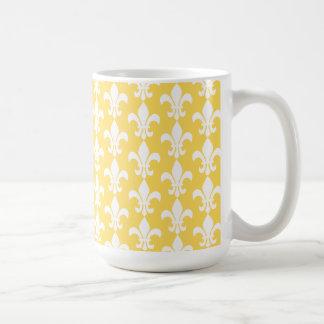Jaune et White Fleur de Lis Pattern Mug