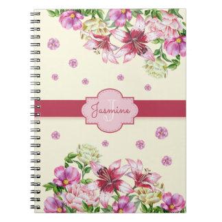 Jaune floral de lis et de pivoine carnets à spirale