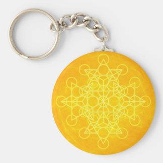 Jaune lumineux de la géométrie sacrée de mandala d porte-clés