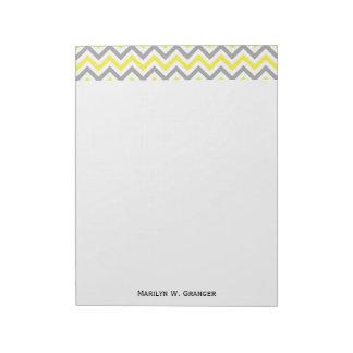 Jaune, motif de zigzag blanc gris du DK grand Bloc-note