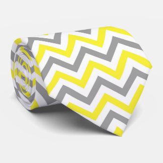 Jaune, motif de zigzag blanc gris du DK grand Cravate