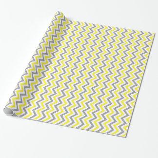 Jaune, motif de zigzag blanc gris du DK grand Papier Cadeau