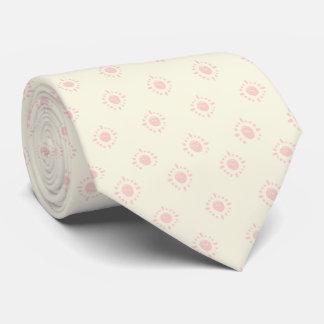 Jaune pâle avec pâle - motif rose cravate