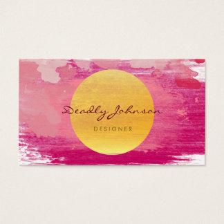 Jaune rose élégant d'abrégé sur moderne aquarelle cartes de visite