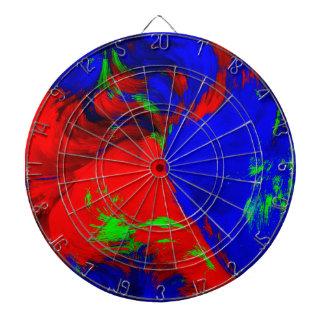 Jaune rouge de vert bleu de conception abstraite cible de fléchettes