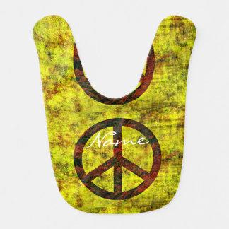 jaune super hippie de symbole de paix des années bavoir