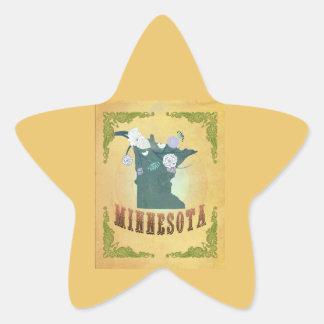 Jaune vintage de passiflore comestible de sticker étoile