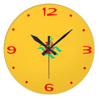 Jaunes simples et le rouge >Kitchen des horloges