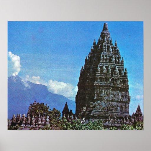 Java vintage, temple hindou de 9ème siècle de Pram Poster