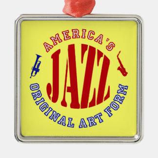 Jazz, forme d'art originale de l'Amérique Ornement Carré Argenté