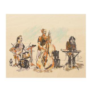 Jazz music trio impression sur bois