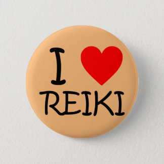 """Je bouton rond de Reiki de coeur"" Pin's"