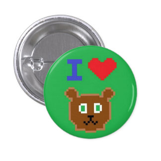 """""""JE bouton vert AIME OURS"""" Badge"""
